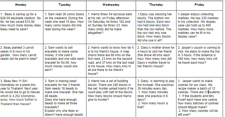 Morning Math Problems June 15-19
